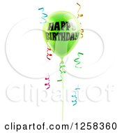 Clipart Of A 3d Lime Green Party Balloon And Confetti Ribbons With Happy Birthday Text Royalty Free Vector Illustration