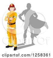 Clipart Of A Caucasian Male Fireman With Folded Arms And A Super Hero Shadow Royalty Free Vector Illustration