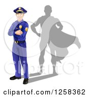 Clipart Of A Caucasian Male Police Officer With Folded Arms And A Super Hero Shadow Royalty Free Vector Illustration