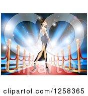 Brunette Latina Female Celebrity Posing On A Red Carpet