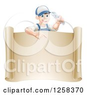 Clipart Of A Happy White Brunette Mechanic Man Holding A Wrench Over A Scroll Sign Royalty Free Vector Illustration by AtStockIllustration