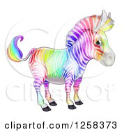 Clipart Of A Cute Rainbow Striped Zebra Royalty Free Vector Illustration by AtStockIllustration