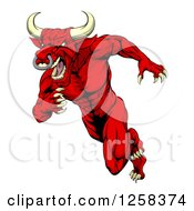 Clipart Of An Aggressive Angry Red Bull Man Mascot Running Upright Royalty Free Vector Illustration by AtStockIllustration