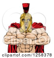 Clipart Of A Tough Muscular Spartan Warrior Man Gesturing Bring It With His Fists Royalty Free Vector Illustration