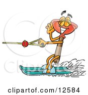 Sink Plunger Mascot Cartoon Character Waving While Water Skiing by Toons4Biz