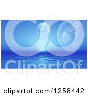 Clipart Of 3d Fictional Planets Over A Blue Ocean Royalty Free Illustration