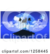 Clipart Of A Silhouetted Tropical Island And Fictional Planets At Dusk Royalty Free Illustration