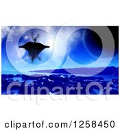 Clipart Of A 3d Floating Island Over An Alien Planet Royalty Free Illustration