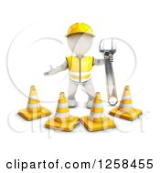 Clipart Of A 3d White Man Construction Worker Standing Behind Cones With A Wrench Royalty Free Illustration