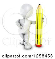 Clipart Of A 3d White Man With A Giant Pencil Royalty Free Illustration by KJ Pargeter