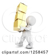 Clipart Of A 3d White Man Carrying Boxes Royalty Free Illustration