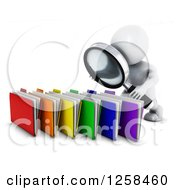 Clipart Of A 3d White Man Searching Files With A Magnifying Glass Royalty Free Illustration by KJ Pargeter