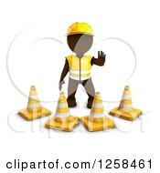 3d Brown Man Construction Worker Standing Behind Cones