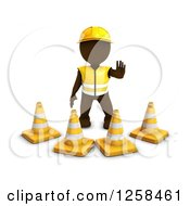Clipart Of A 3d Brown Man Construction Worker Standing Behind Cones Royalty Free Illustration
