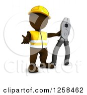 Clipart Of A 3d Brown Man Construction Worker With Giant Pliers Royalty Free Illustration
