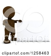 Clipart Of A 3d Brown Man Presenting A Blank Sign Royalty Free Illustration by KJ Pargeter