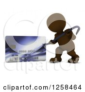 Clipart Of A 3d Brown Man Using A Pry Bar To Hack Into A Credit Card Account Royalty Free Illustration