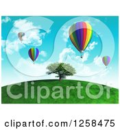 Clipart Of A 3d Tree On A Hill With Hot Air Balloons Royalty Free Illustration by KJ Pargeter