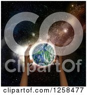 Clipart Of 3d Human Hands Over Planet Earth And Outer Space Royalty Free Illustration
