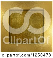 Clipart Of A 3d Gold Metal Frame Over Grunge Royalty Free Illustration