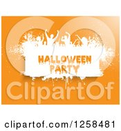 Clipart Of White Grunge Dancers Over Halloween Party Text On Orange Royalty Free Vector Illustration by KJ Pargeter