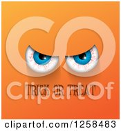 Clipart Of Bloodshot Eyes Over Trick Or Treat Text On Orange Royalty Free Vector Illustration by KJ Pargeter