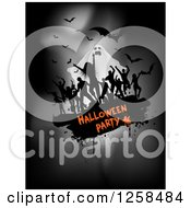 Clipart Of Black Grunge Dancers Over Halloween Party Text With A Ghost And Bats On Gray Royalty Free Vector Illustration by KJ Pargeter