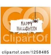 Clipart Of White Grunge Happy Halloween Banner With A Spider On Orange Royalty Free Vector Illustration