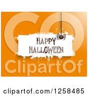 White Grunge Happy Halloween Banner With A Spider On Orange