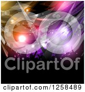 Clipart Of A Silhouetted Dancing And Cheering Crowd Over Colorful Flares And Lights Royalty Free Vector Illustration by KJ Pargeter