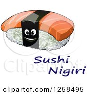 Clipart Of A Happy Sushi Nigiri Character Over Text Royalty Free Vector Illustration