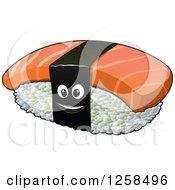 Clipart Of A Happy Sushi Nigiri Character Royalty Free Vector Illustration