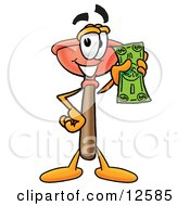 Sink Plunger Mascot Cartoon Character Holding A Dollar Bill by Toons4Biz