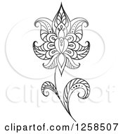 Clipart Of A Black And White Henna Flower Royalty Free Vector Illustration by Seamartini Graphics