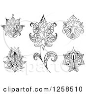 Clipart Of Black And White Henna Lotus Flowers Royalty Free Vector Illustration by Seamartini Graphics