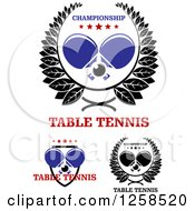 Clipart Of Ping Pong Balls And Crossed Table Tennis Paddles With Stars And Wreaths Royalty Free Vector Illustration by Seamartini Graphics