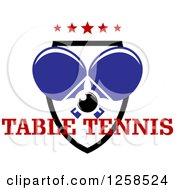 Clipart Of A Ping Pong Ball And Crossed Table Tennis Paddles With Stars In A Shield And Text Royalty Free Vector Illustration by Seamartini Graphics