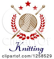 Clipart Of Knitting Needles And Yarn Over Text With Stars Royalty Free Vector Illustration by Seamartini Graphics