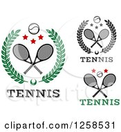Clipart Of Wreaths With Crossed Tennis Rackets Balls And Stars Royalty Free Vector Illustration