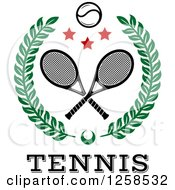 Clipart Of A Leafy Wreath With Crossed Tennis Rackets A Ball And Stars Over Text Royalty Free Vector Illustration