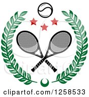 Clipart Of A Leafy Wreath With Crossed Tennis Rackets A Ball And Stars Royalty Free Vector Illustration