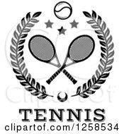 Clipart Of A Black And White Leafy Wreath With Crossed Tennis Rackets A Ball And Stars Over Text Royalty Free Vector Illustration by Seamartini Graphics