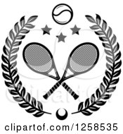 Clipart Of A Black And White Leafy Wreath With Crossed Tennis Rackets A Ball And Stars Royalty Free Vector Illustration