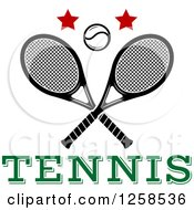 Clipart Of A Ball And Stars Over Crossed Tennis Rackets And Text Royalty Free Vector Illustration