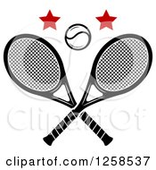 Clipart Of A Ball And Stars Over Crossed Tennis Rackets Royalty Free Vector Illustration