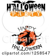 Clipart Of A Flying Witch And Bats With Halloween Text Royalty Free Vector Illustration