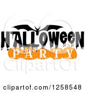 Clipart Of A Flying Bat With Halloween Party Text Royalty Free Vector Illustration