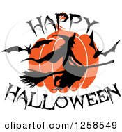 Clipart Of A Flying Witch With Happy Halloween Text Royalty Free Vector Illustration by Seamartini Graphics