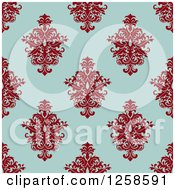 Clipart Of A Seamless Background Pattern Of Damask Floral Royalty Free Vector Illustration by Seamartini Graphics