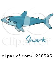 Clipart Of A Happy Blue Shark Over Text Royalty Free Vector Illustration by Seamartini Graphics